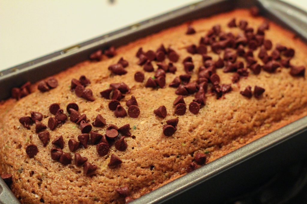 Chocolate chip zucchini bread topped with more chocolate chips