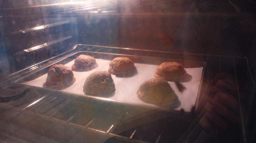 Gingersnap Cookies baking in the oven