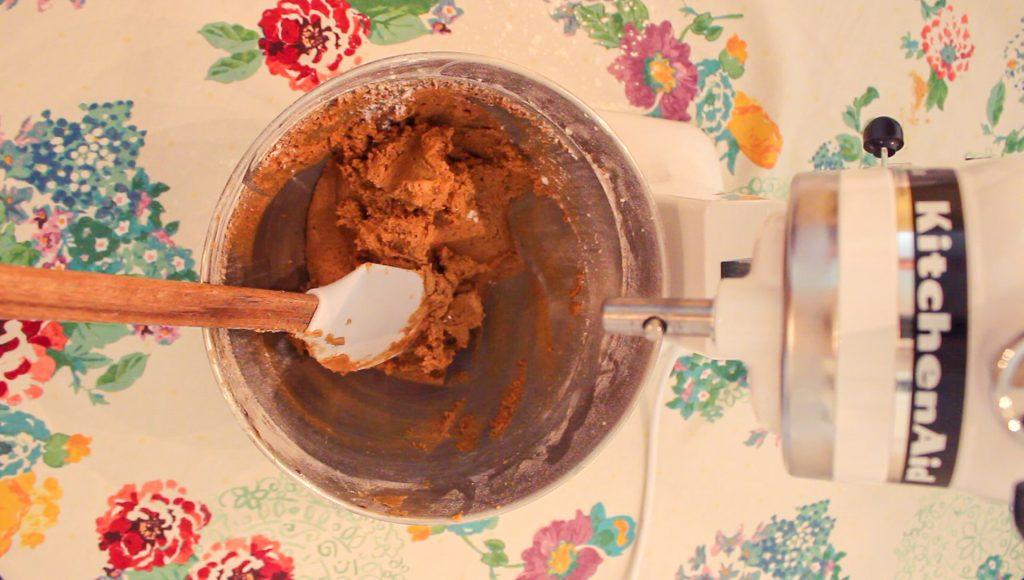 Mixing gingersnap cookie dough